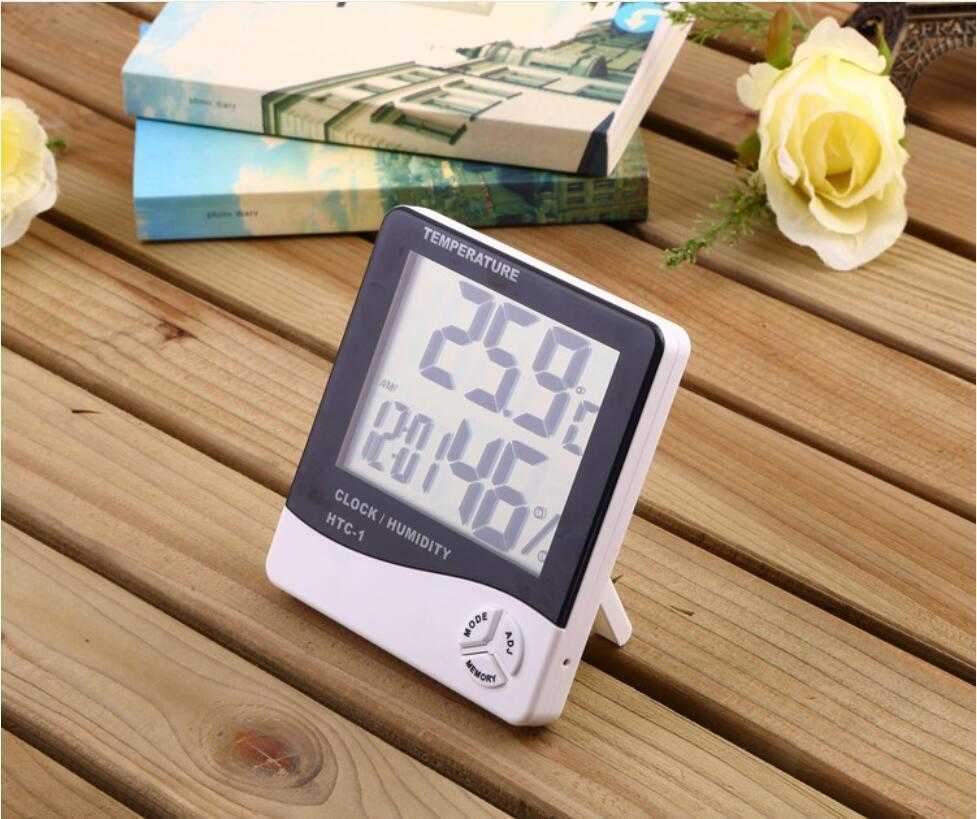 Digital LCD Temperature Hygrometer Clock Humidity Meter Thermometer with Clock Calendar Alarm HTC-1 up