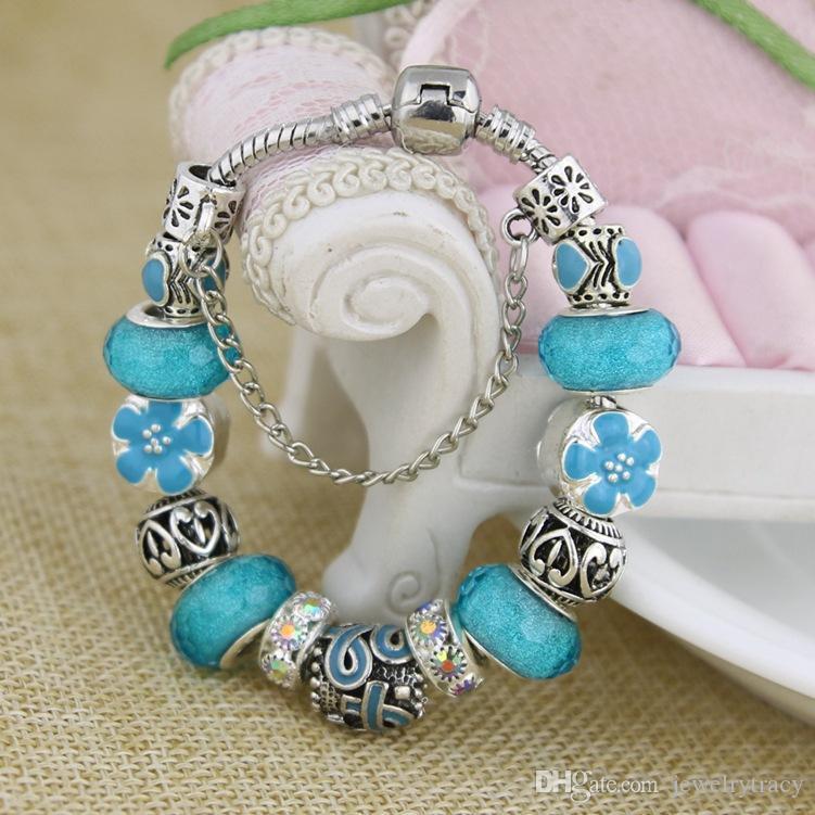 Women Bracelets Lake Blue Ribbon Rhinestone European Beads Charm Bracelets Bangles Gratitude Encourage Care Love Women Jewelry Accessories