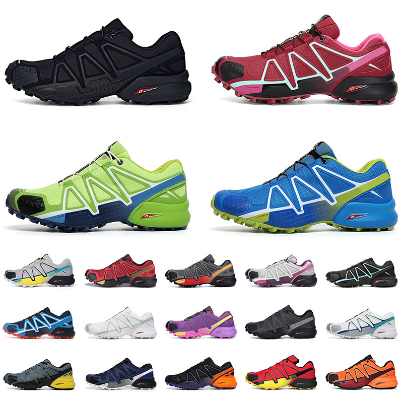 Outdoor Speed Cross 4 CS hiking shoes Top quality Flat Sports Sneakers Men Women Trainers Triple Black White Green Blue Yellow Orange Breathable Running Jogging