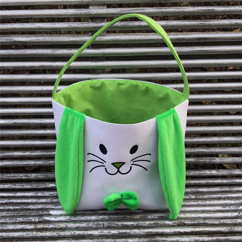 Easter Rabbit Bucket Easter Bunny Basket Jute Kids Egg Candies Baskets Gifts Candy Canvas Barrel Tote Easter Festival Handbags Bags