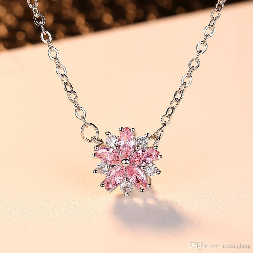 Jewelry sets necklace earrings sets for women party cubic zircon link chain flowers necklaces for girls