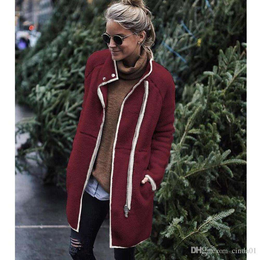 Womens Jackets Terry Fashion Stand Collar Zipper Buttons Coat Loose Female Ladies Solid Color Women Jackets Casual Long Sleeve Jackets S-XL