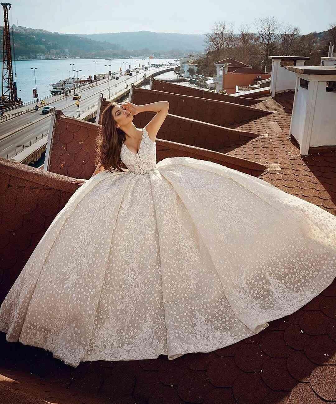Arabic Ball Gown Luxury Wedding Dresses 2021 Appliqued Beading Plus Size Bridal Gowns V Neck Customise vestido de novia