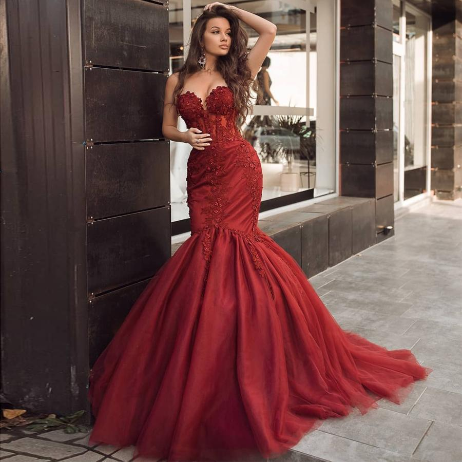 Burgundy Evening Dresses 2020 Sweetheart Lace Appliques Mermaid Prom Dress Custom Made Formal Party Dress Plus Size