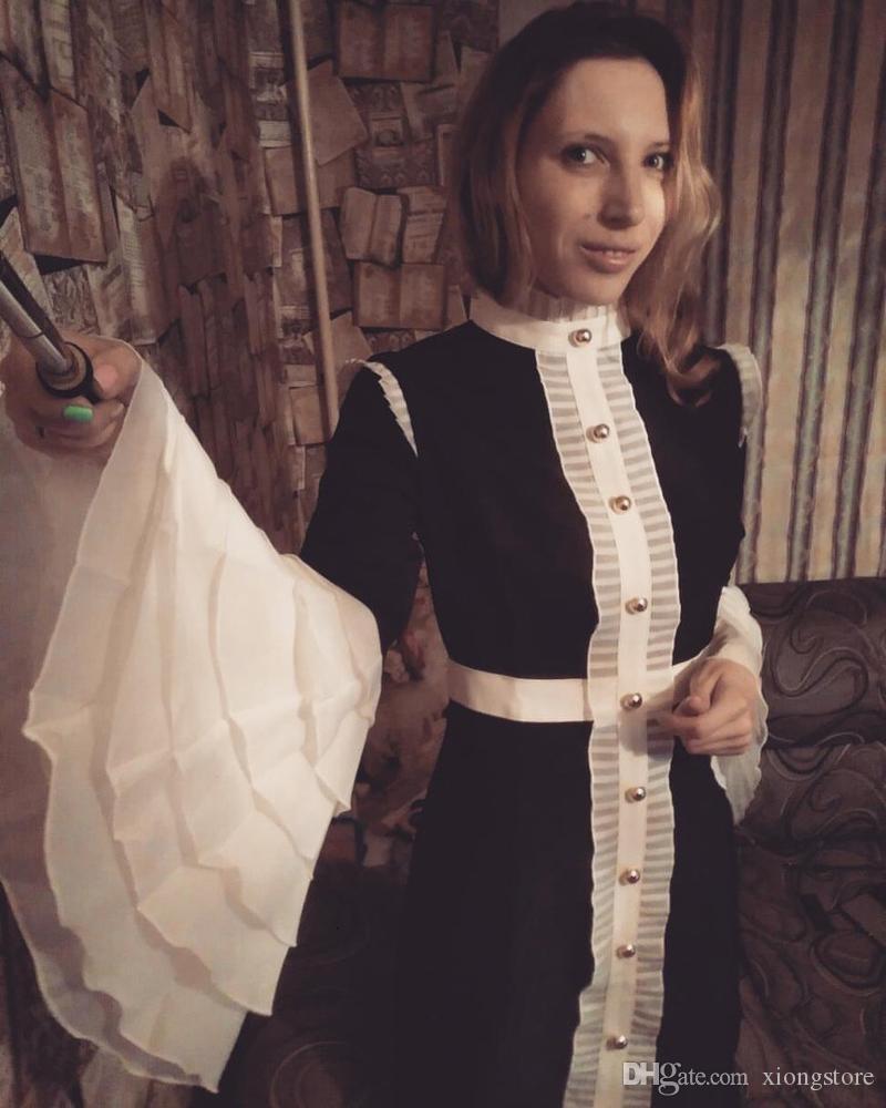 vestido de festa curto 2019 Autumn royal ruffle Long Flare Sleeve buttons dress High Quality Women Black Elegant Party Dresses jurken