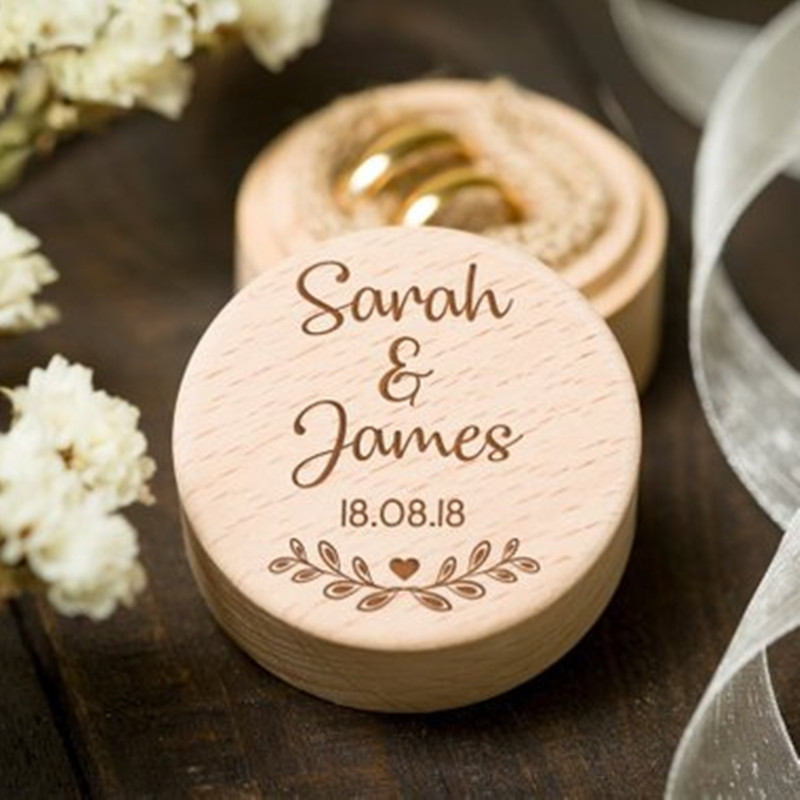 Rustic Wedding Ring Box Personalized Wooden Ring Bearer Box Ring Holder Country Wedding Decoration Marriage (1)