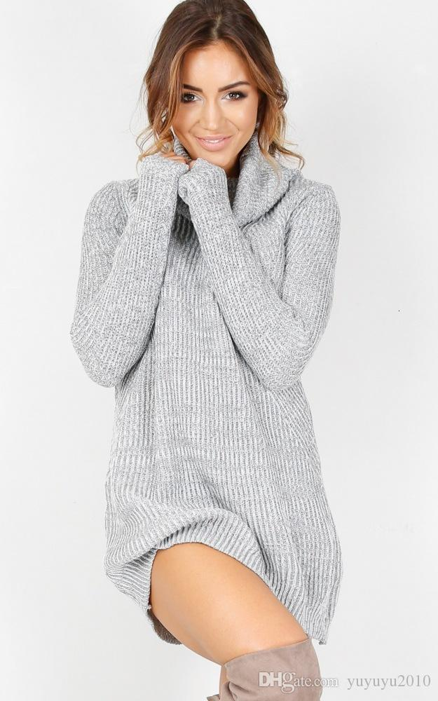 New Women Sweater Dresses Autumn Winter Long Sleeve Knitted Turtleneck Thick Warm Slim Dresses vestido de festa