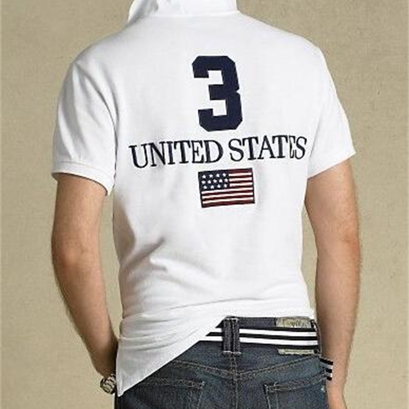 Fashion Casual Style Men Big Horse Embroidery Polo Shirt Solid Color USA UK Italy France Flag Camisa Polos Fitness T-Shirts Size S-XXL White