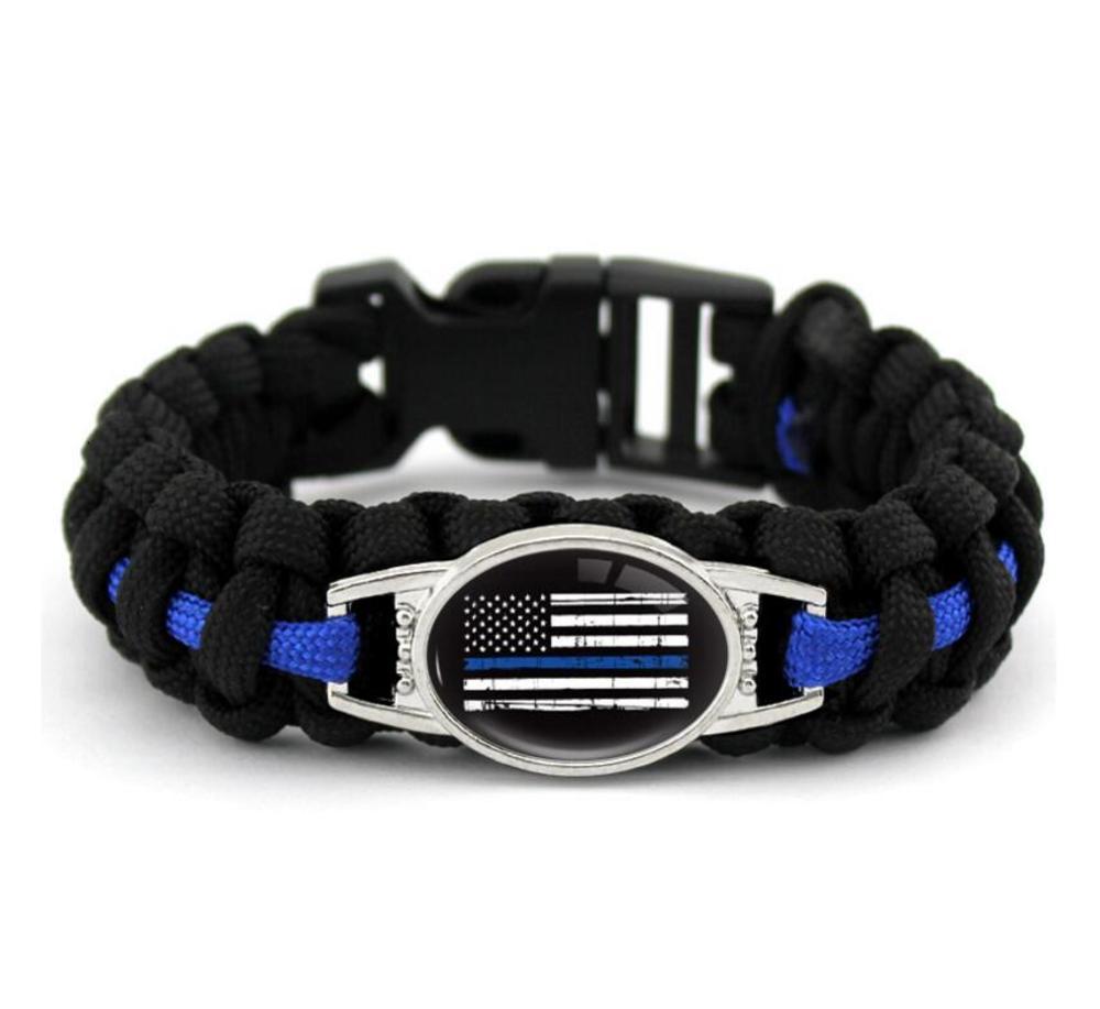 Black Blue THIN BLUE LINE American flag BACK THE BLUE POLICE Paracord Survival Bracelets Outdoor Self Survival Camping Bracelet for Women