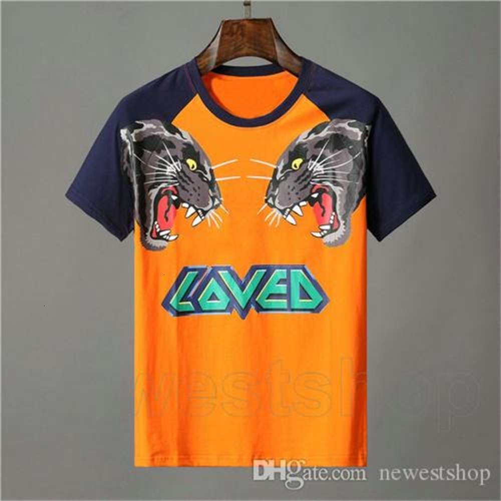 Designer clothing for mens orange T-shirt letter animal tiger wolf print tshirt loved patchwork color Tee Casual women tshirts t shirt Top
