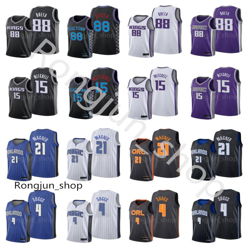 2021 Draft Picks Screen Print Basketball Jerseys 4 Jalen Suggs 21 Franz Wagner 15 Davion Mitchell Neemias 88 Queta White Blue Purple Black Size:S--3XL