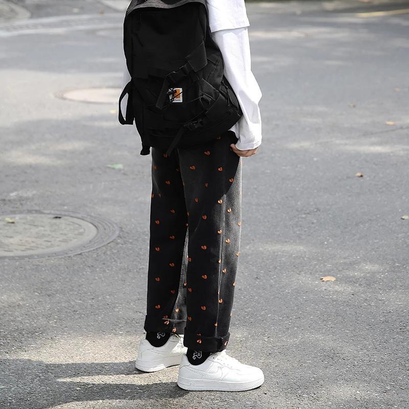 Harajuku Style Denim Jeans Pants Man Streetwear Heart Print Full Length Baggy Jeans 2020 Casual Vintage Black Jeans For Men