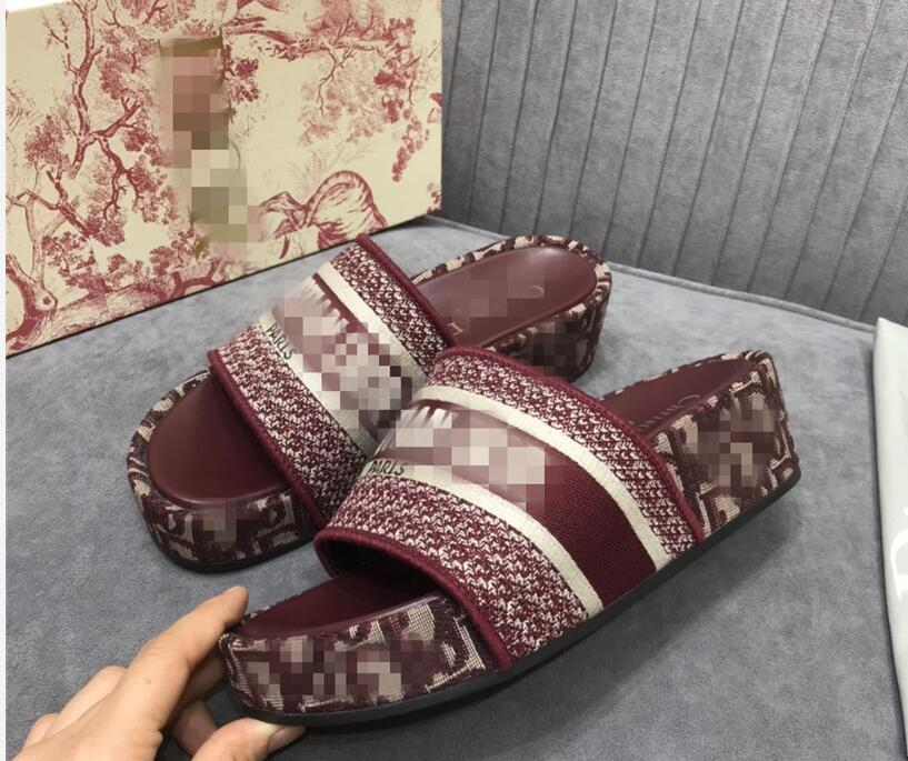 Summer Mules Wedge Heel Sandals Blue Oblique Embroidered Cotton Platform Oblique Jacquard Real Leather WITH BOX Luxury Women Shoes size 35-40