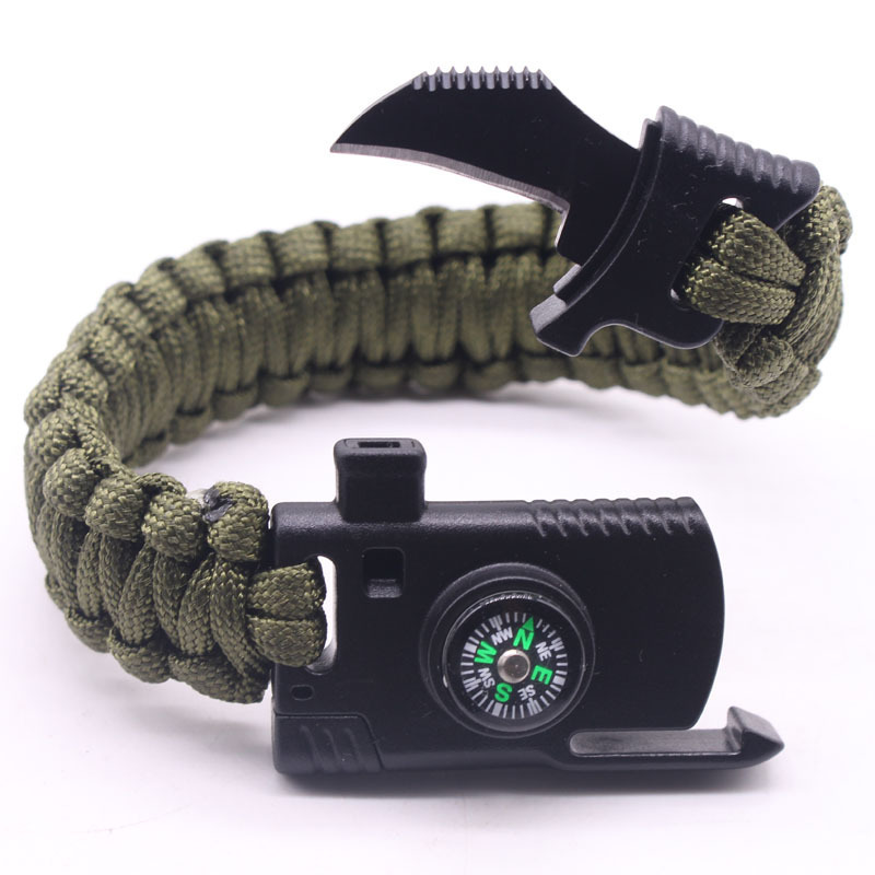 Tactical Bushcraft molle Umbrella rope survive whistle escape emergency rescue Camouflage bracelet paracord climb hunt accessory