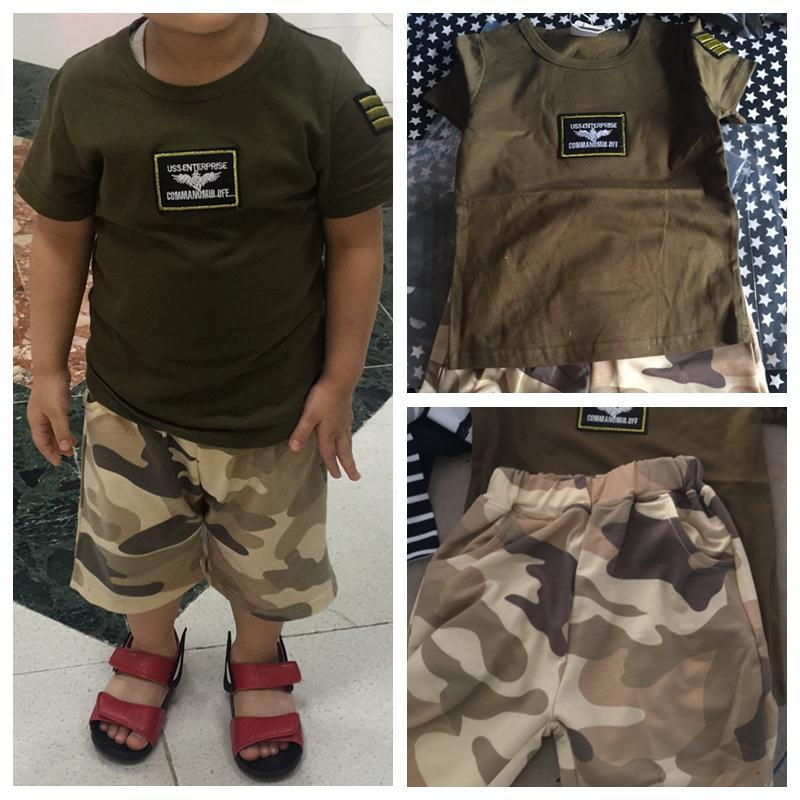 Summer Child Clothing Short-Sleeve Shorts Twinset Baby Boy Army Green Camouflage Set 90 100 110 120 130 140Cm 2T-10 Years