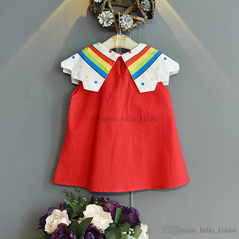 Girl's Dresses Baby Girls Casual Outfits Clothes Kids Clothing Summer Cotton Short Sleeve Rainbow Princess Sweet 2-6Y B5198