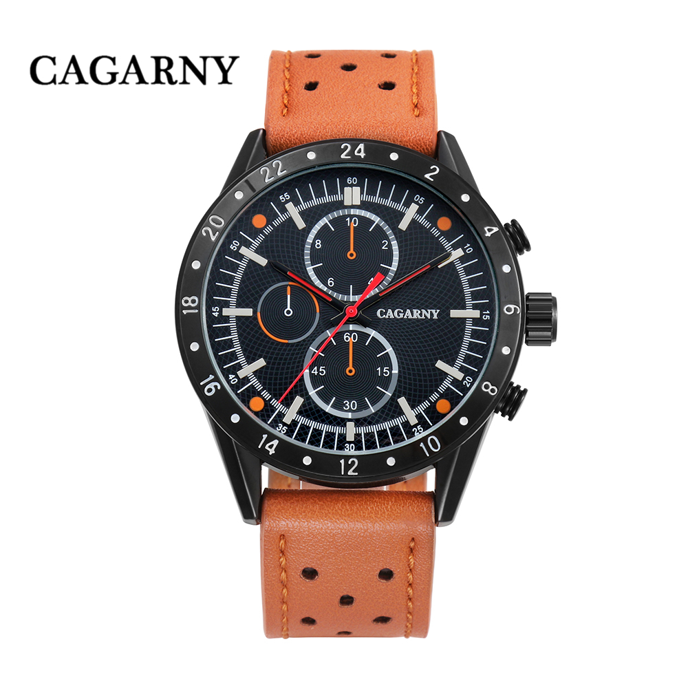 cagarny watches for men quartz wrist watch leather watch strap sports watches casual clock man free shipping (2)