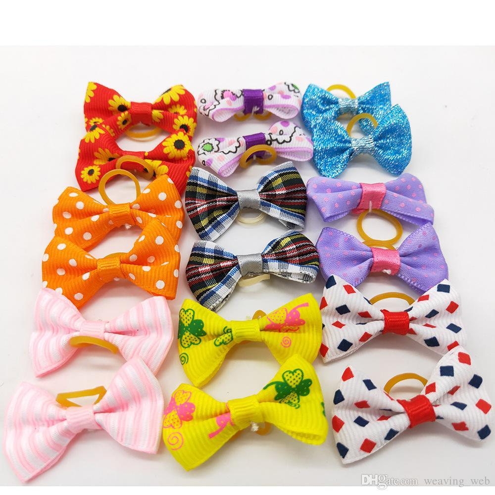 Cute Puppy Dog Small Bowknot Hair Bows with Rubber Bands Hair Accessories Bow Pet Grooming Products
