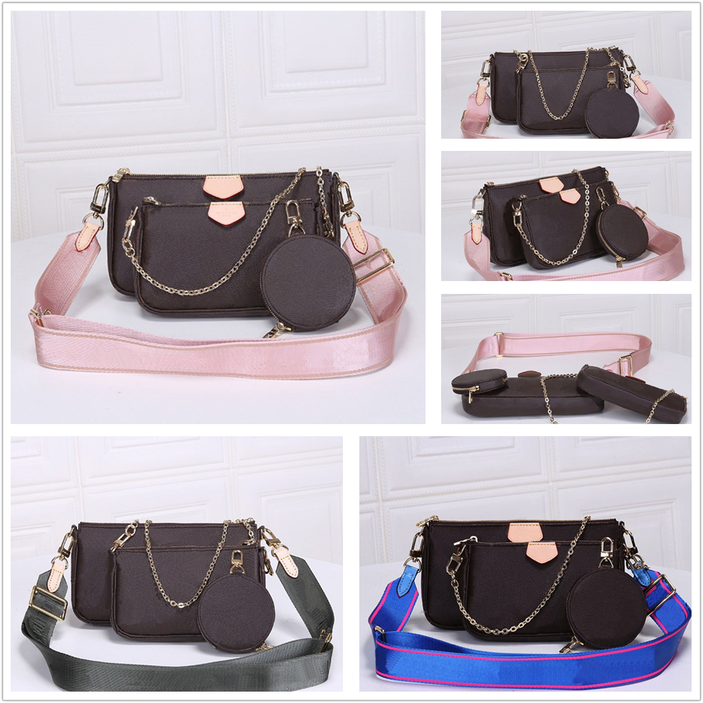 High quality womens 3-piece shoulder bags change women wallet Classic letters key chain crossbody bag Free Shiping
