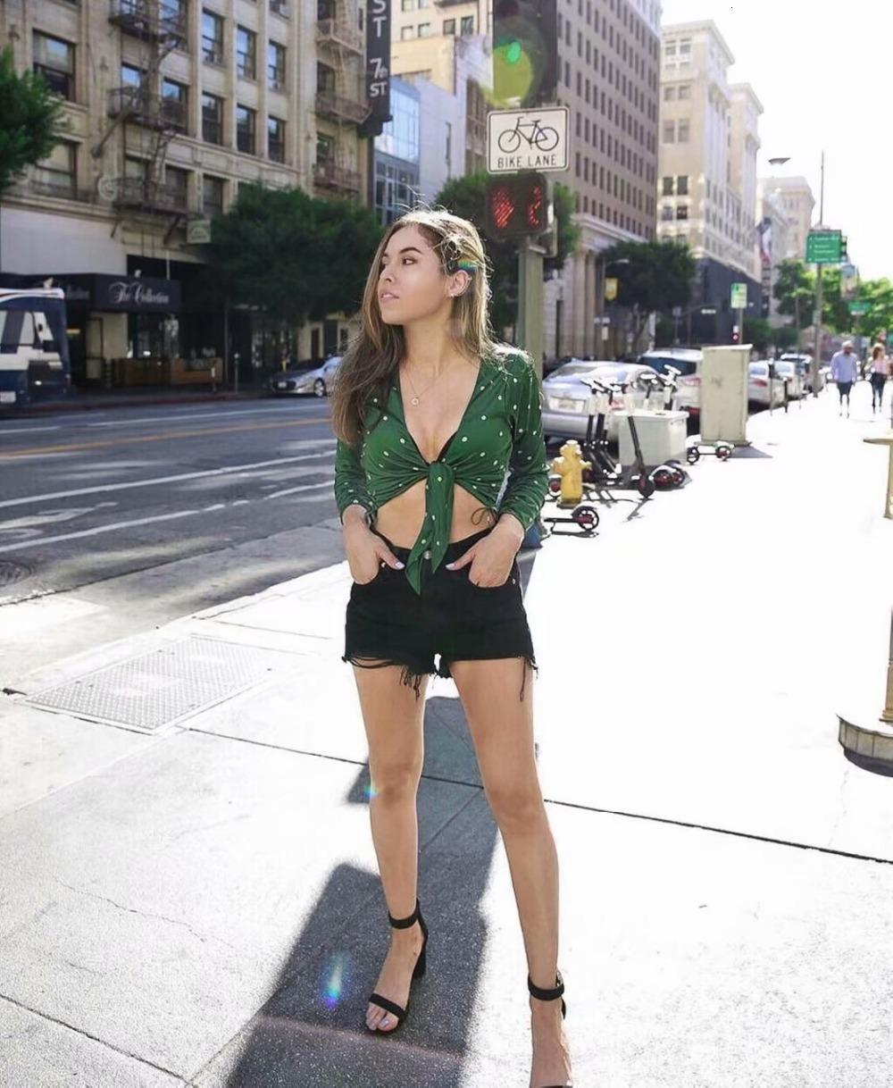 V Neck Long Sleeve Fashion new arrivals For Love Tie Front Top with Green Center Front Tie Side Seam Women blouses Shirts Sexy Crop Top