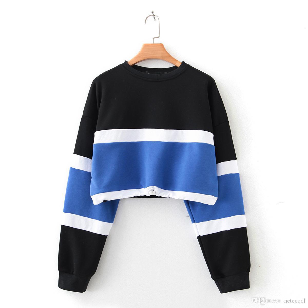 Fashion Cropped Hoodie Womens Long Sleeve Splcing Color Female Sweatshirt Pullover Short Tops Blouse Streetwear Sudadera Mujer