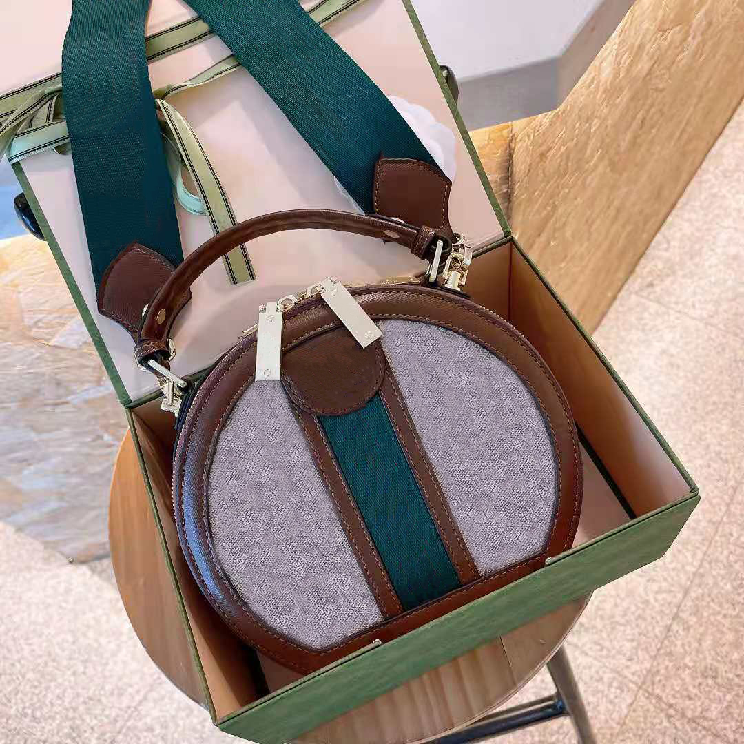 Designer luxury ladies brown round messenger bag brand leather luxury handbag designer small ladies messenger one-shoulder messenger bag with original box