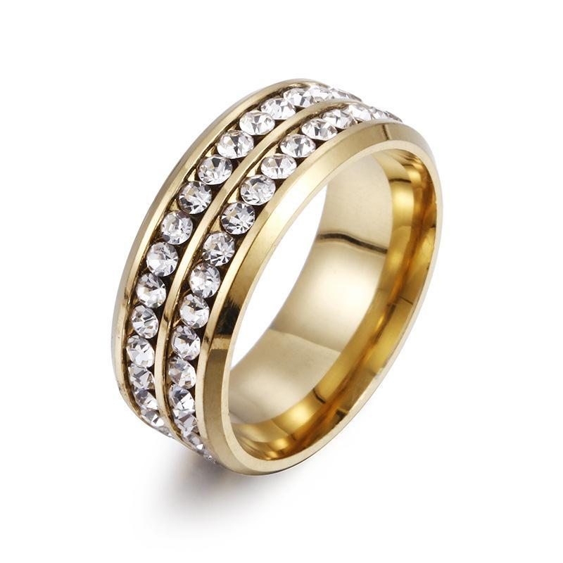 Two Rows Crystal Ring Stainless Steel Diamond Rings Engagement Wedding Ring for Women men Fashion Jewery will and sandy 080462