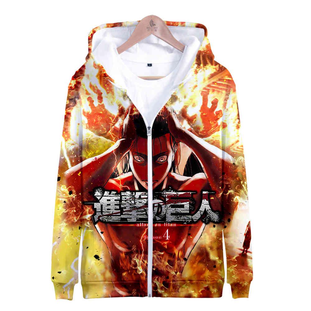 Women/Men Jacket Attack On Titan S4 3D figure Printed Zipper Hoodies Fashion Long Sleeve Hooded Sweatshirt Titans attack Clothes