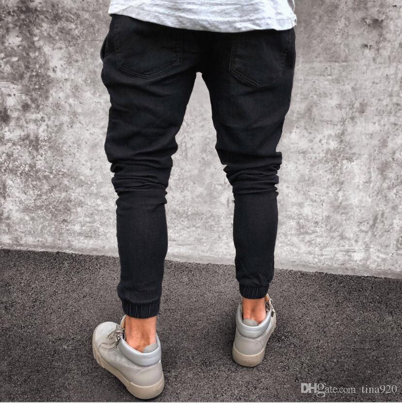 New Black Ripped Jeans Men With Holes Super Skinny Famous Designer Brand Slim Fit Destroyed Torn Jean Pants For Male