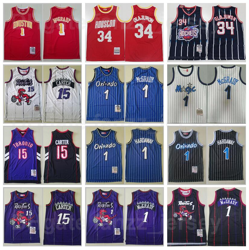 Basketball Mitchell and Ness Vintage Hakeem Olajuwon Jersey 34 Tracy McGrady Penny Hardaway 1 Vince Carter 15 Retro Red Navy Blue White Purpe Black High Quality