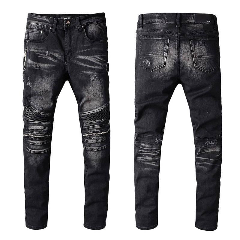 2021 New Arrivals Amiry Mens Luxury Designer Denim Jeans Holes Trousers Biker Pants Men's Clothing #607