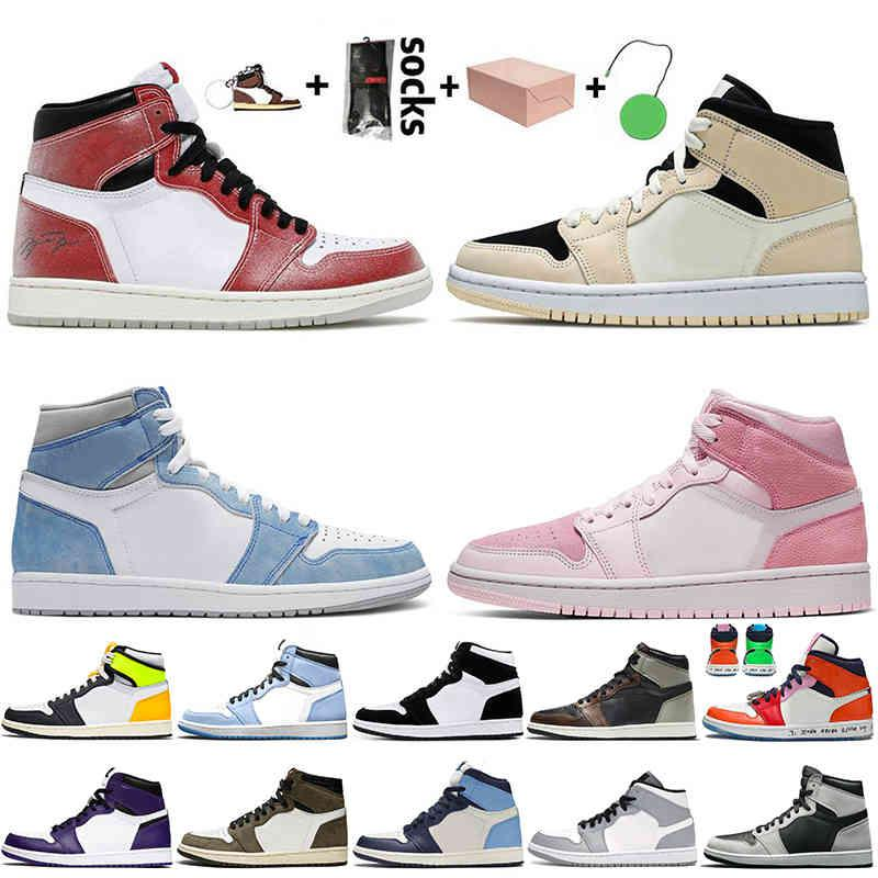 With Box 2021 Jumpman 1 Basketball Shoes Women Mens 1s Trainers Sneakers Trophy Room Chicago High Og Hyper Royal Barely Orange Digital Pink