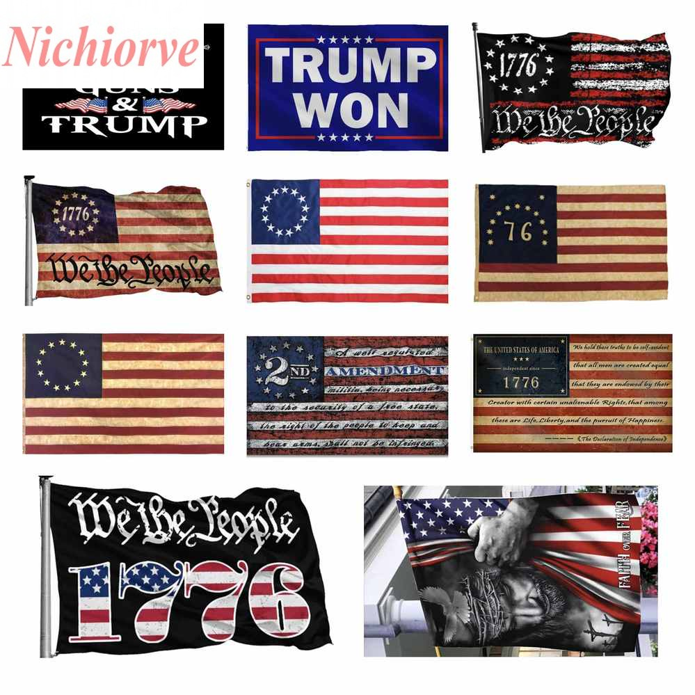 DHL American Flag-Faith Over Fear God Jesus 3x5ft Flags 100D Polyester Banners Indoor Outdoor Vivid Color High Quality With Two Brass Grommets