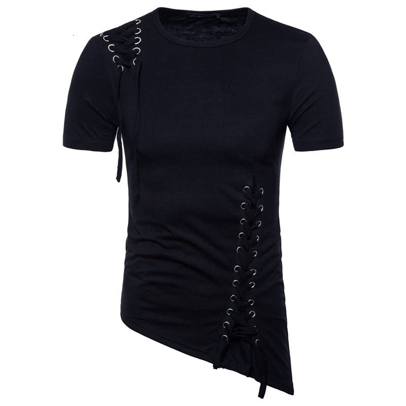 Tshirt Short Sleeve Solid Color O Neck Lace Up Asymmetrical Tees Tops New Mens Clothing Casual Mens Summer