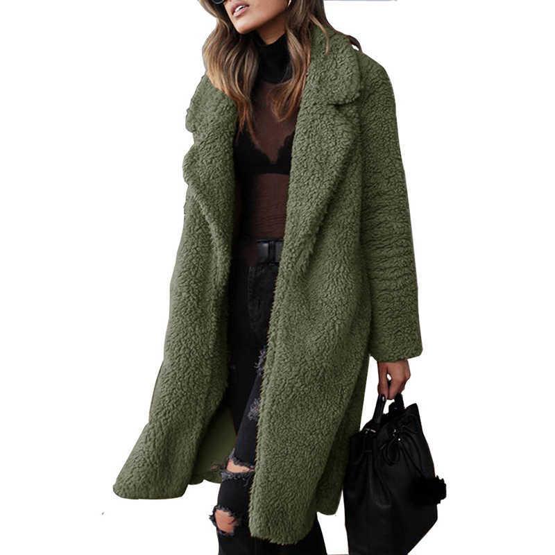 2020 Autumn Winter Faux Fur Coat Women Warm Teddy Coat Ladies Fur Teddy Jacket Female Long Coat Plus Size Outwear Plush Overcoat G0913