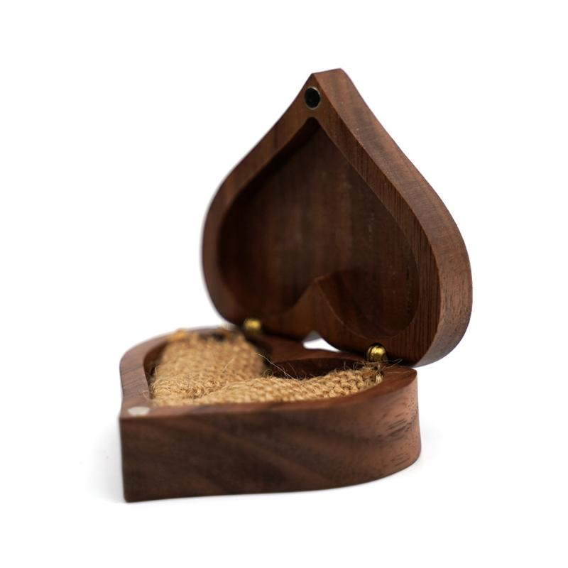 Jewelry Pouches, Bags 40GB Heart Walnut Wood Ring Box Proposal Engagement Holder Wooden