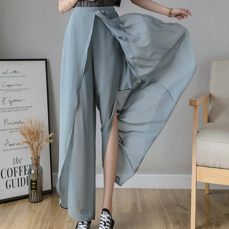 Women Wide Leg Beach Pants Summer Loose Large Size Boho Trousers Elastic High Waist Skirt Pants Female Chiffon Side Split