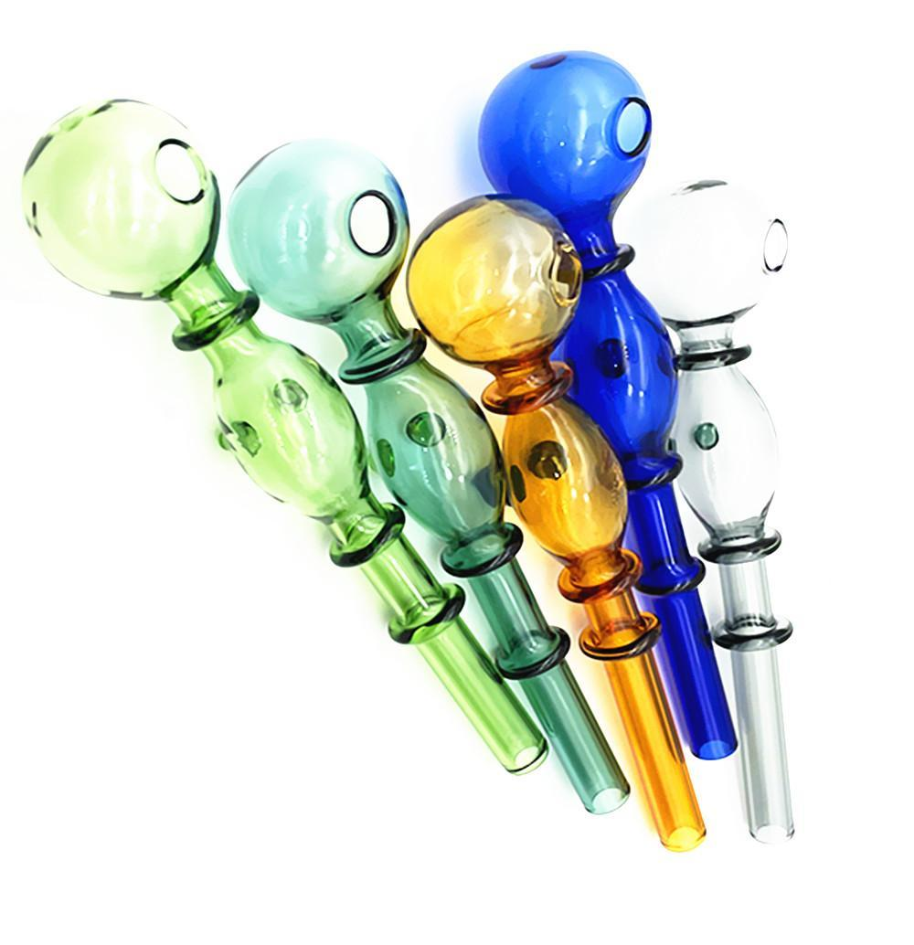 14mm Colorful double bubble glass straight pot Wholesale Glass bongs Oil Burner Glass Pipes Water Pipes Oil Rigs Oil
