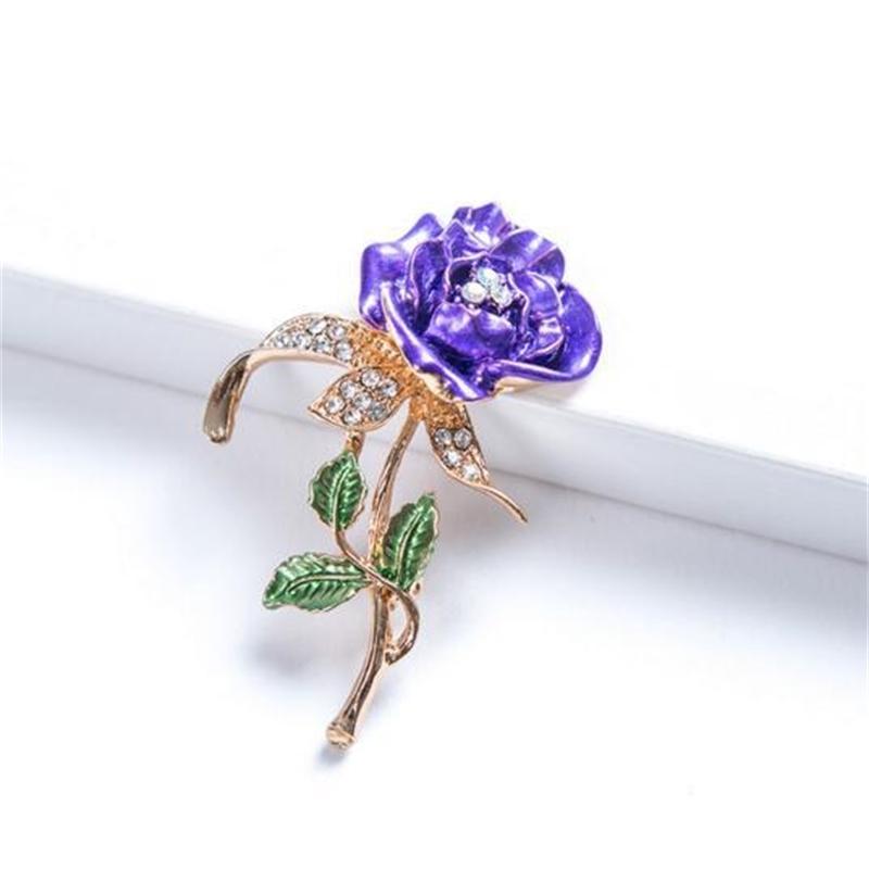 Beautiful Rhinestone Fashion Rose flowers Brooch Bud Pink Rhinestone Crystal Brooches Pin For Woman Wedding Jewelry Accessories