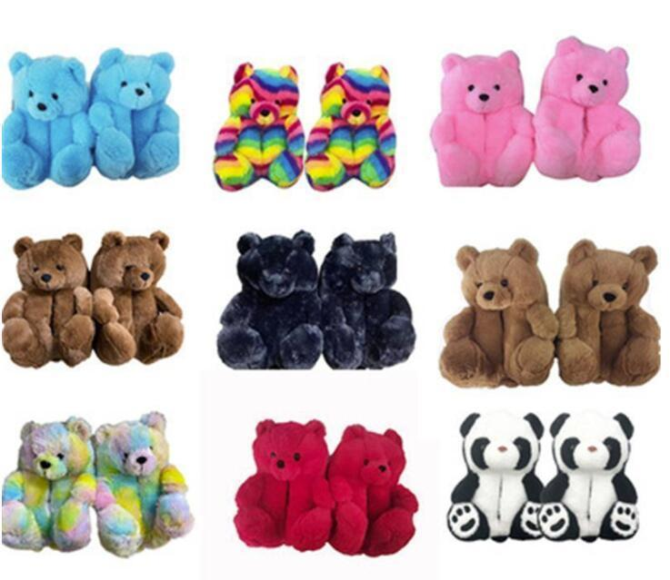 DHL Plush Teddy Bear House Slippers Indoor Soft Anti-slip Faux Fur Cute Fluffy Pink Slippers Brown Women Warm Shoe