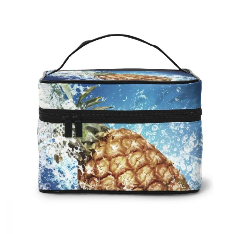 Women Makeup Bag Cosmetic Bags Pineapples Floating In Swimming Pool Ladies Beauty Case Cosmetics Organizer Toiletry & Cases
