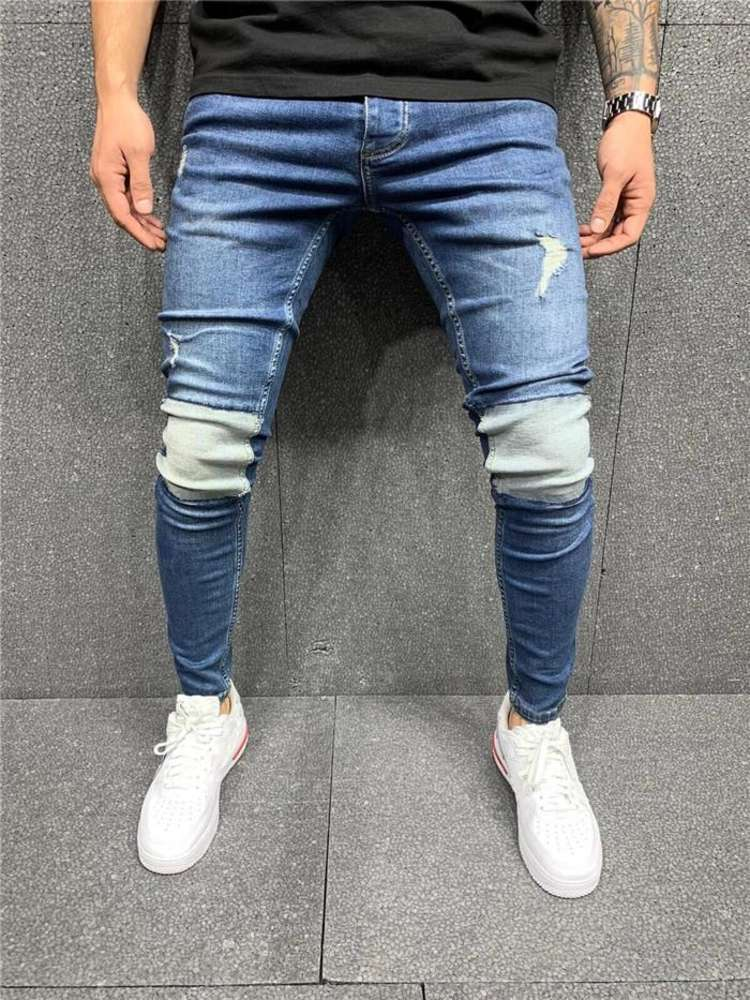 Mens Panelled Blue Jeans Hole Slim Fit Zipper Fly Pencil Pants Homme Skateboard Jeans