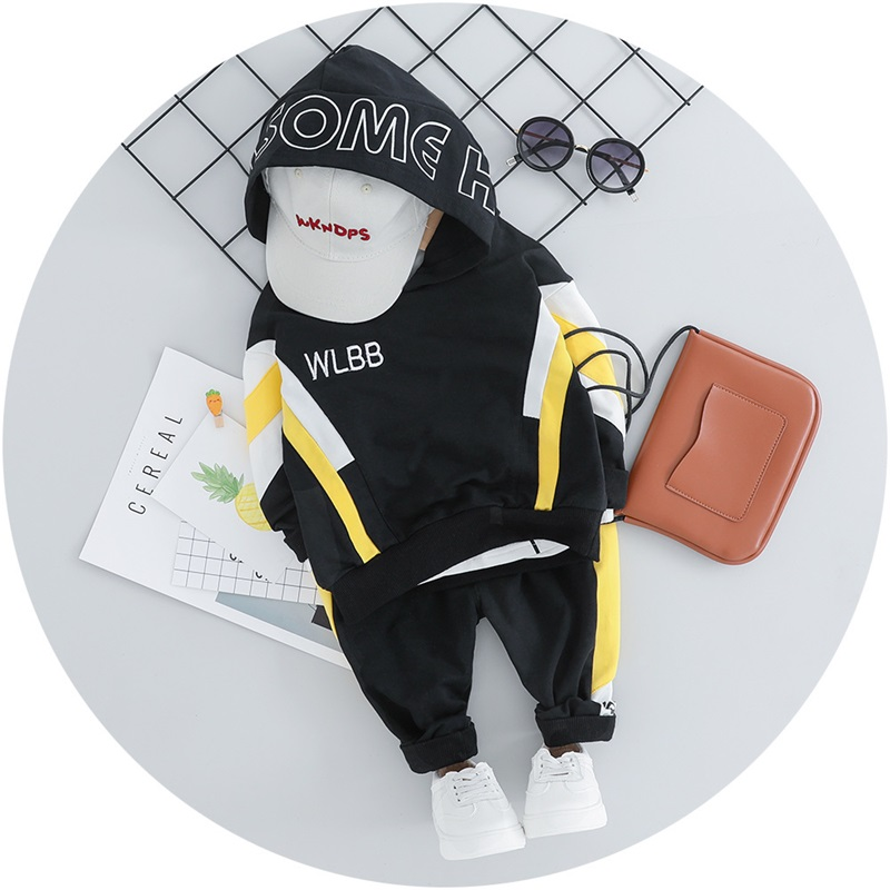 Kid Toddler Boy Hooded Casual Clothing Sets Cotton Autumn New Patchwork Letter Baby Boy T Shirt + Pants 1 2 3 4Y 995 V2