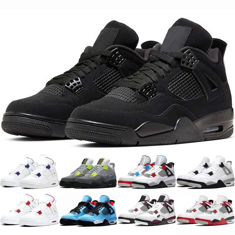 Jumpman Basketball Shoes 4s Black cat What The Taupe Haze Cool Grey Court Purple Starfish Green Metallic Mens Trainers Sports Sneakers