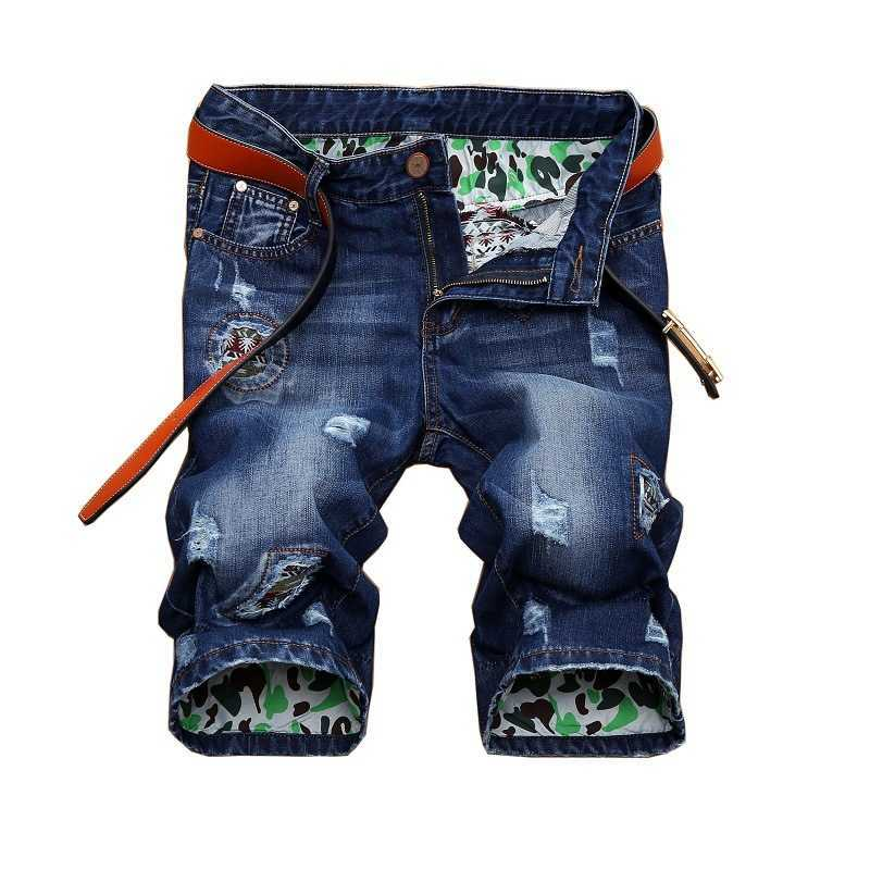 Summer New Fashion Mens Ripped Short Jeans Brand Clothing Bermuda Straight Hole Cotton Shorts Breathable Denim Shorts Male