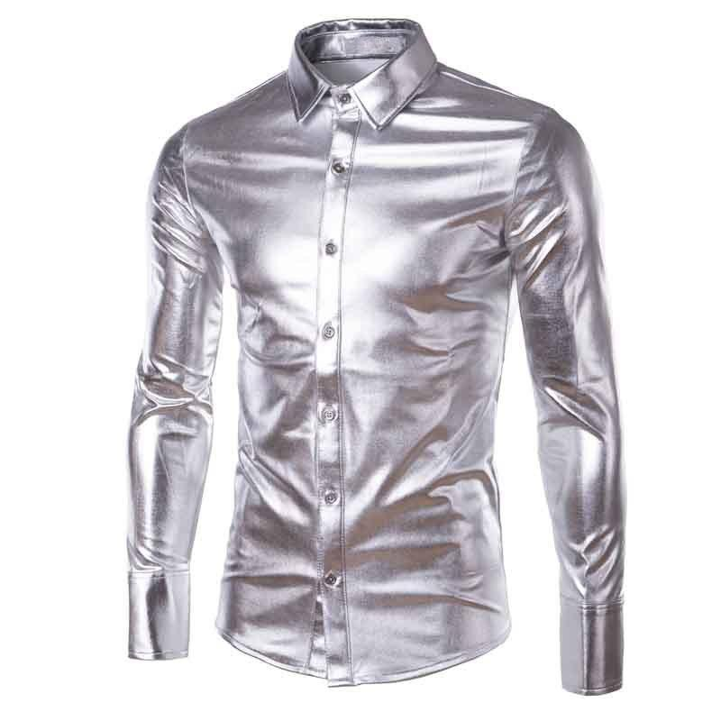 Men's Dress Shirts Gold Silver Shiny Leather Coating Shirt Men Clubwear Fashion Long Sleeve Top Button Up Punk Style Hip Hop Plus Size Xxxl