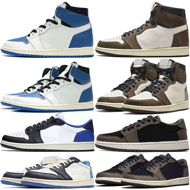 TS x Fragment Jumpman 1 Basketball Shoes Men Women 1s High OG Low Military Blue Dark Mocha Mens Trainers Sports Sneakers Size 36-46