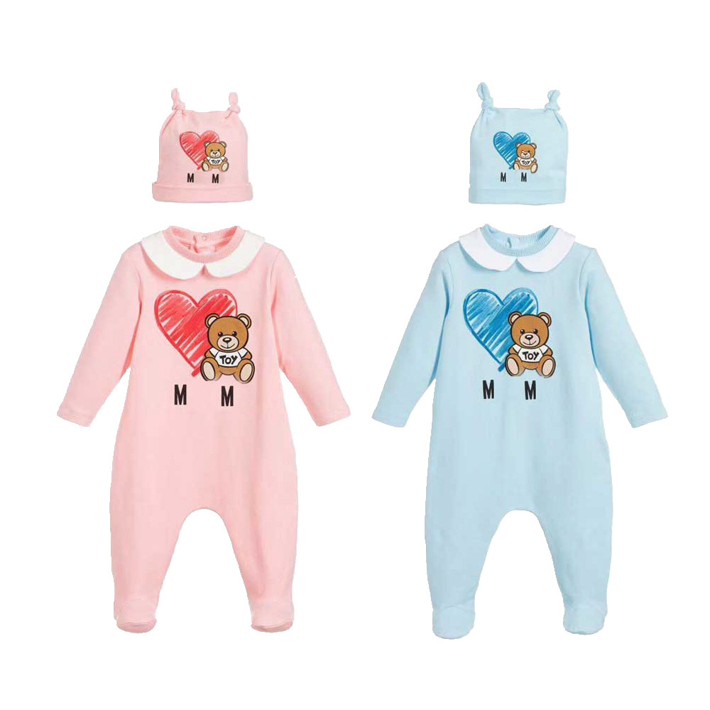 New Arrival Fashion Newborn Baby Girl Clothes Long Sleeve Cotton Cute Cartoon Bear New Born Baby Boy Romper and Hat Bibs Sets