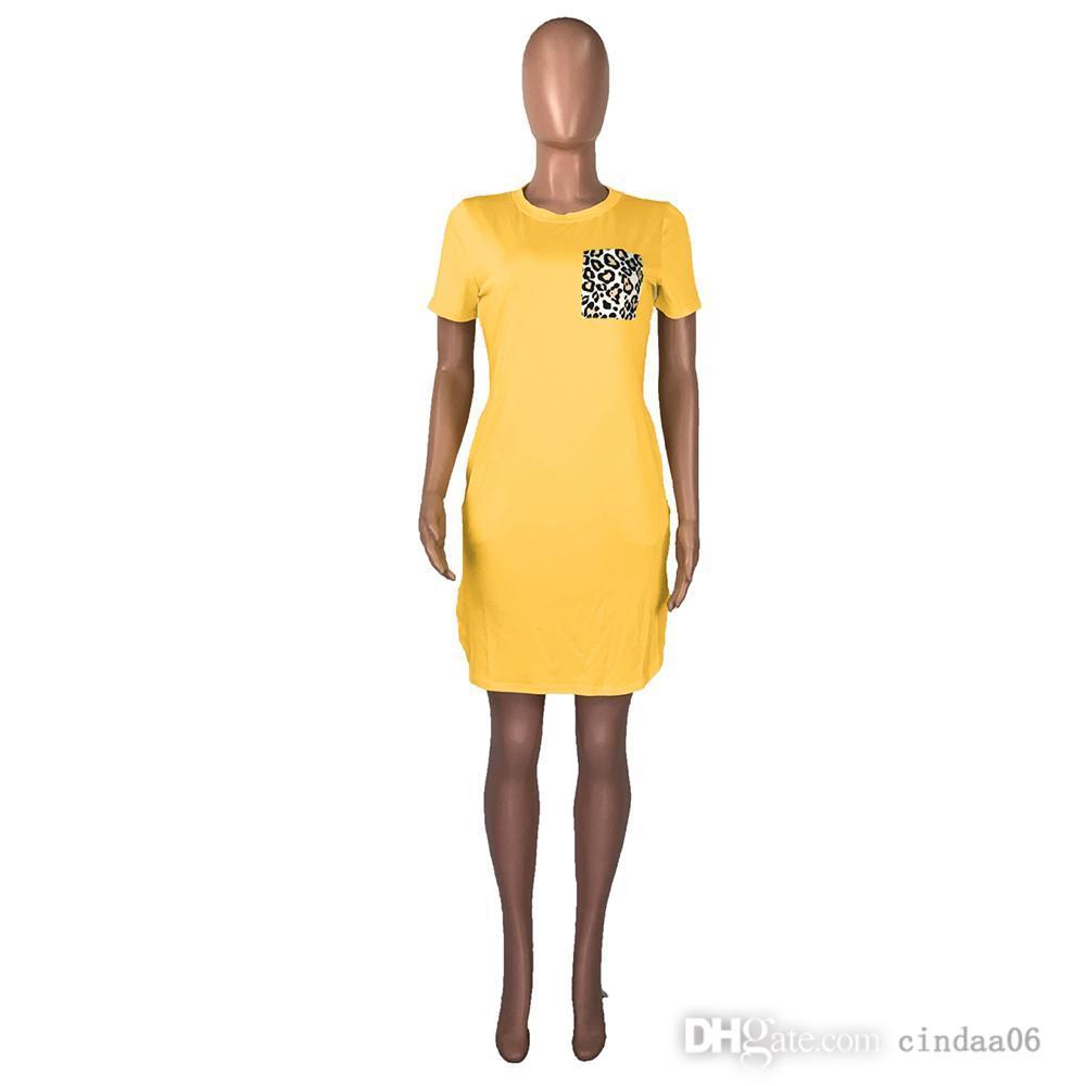 Leopard Pockets Patchwork Sexy T Shirt Dress Women Round Neck Short Sleeve Sheath Dress Summer High Waist Side Split Robe Femme