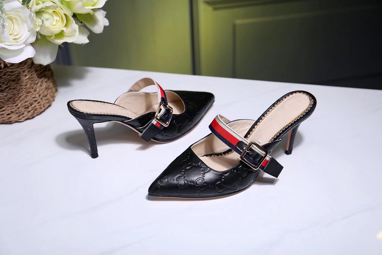 Classic women's slippers, women summer luxury designer sandals, metal buckle, leather sexy high heels, stiletto 7.5cm half slipperss 34-40